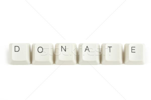 Stock fotó: Adományoz · billentyűzet · kulcsok · fehér · szöveg · izolált