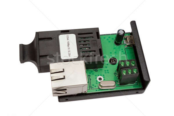 uncovered mini fiber optic Media converter  Stock photo © artush