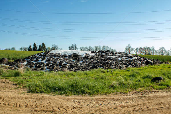 silage by farmers using old tires as a burden Stock photo © artush