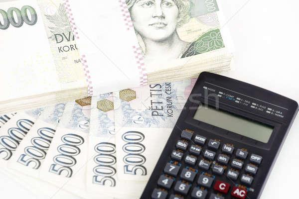 Czech money banknotes, coins and calculator Stock photo © artush