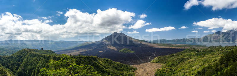 Vulkán hegy Bali panorámakép kilátás kék ég Stock fotó © artush