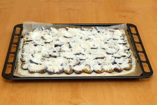 Pruim cake plaat bereid eigengemaakt Stockfoto © artush