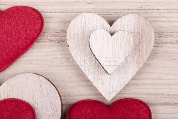 Valentijnsdag houten harten retro valentijnsdag dag Stockfoto © artush
