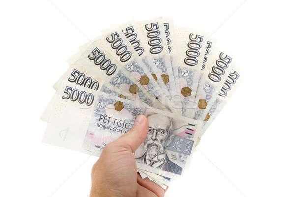 Tcheco notas valor cinco mil homem Foto stock © artush