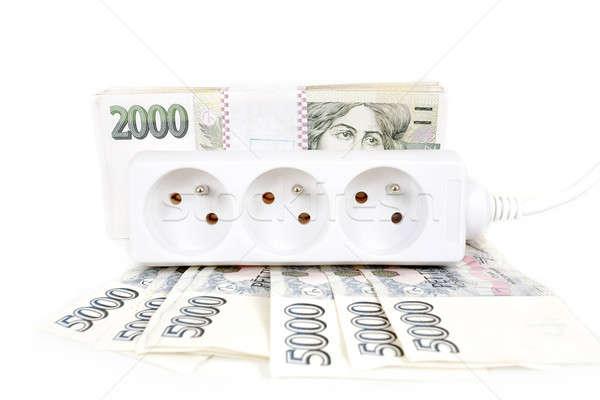 Bani scump energie proiect de lege putere cordon Imagine de stoc © artush