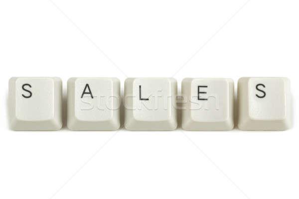 Сток-фото: продажи · клавиатура · ключами · белый · текста · изолированный