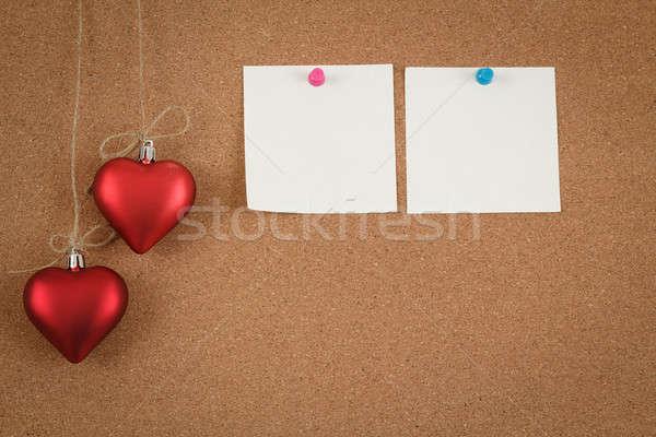 Vazio placa de cortiça valentine mensagem carta Foto stock © artush
