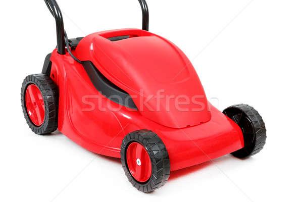 ストックフォト: 新しい · 赤 · 芝刈り機 · 白 · 孤立した · スタジオ