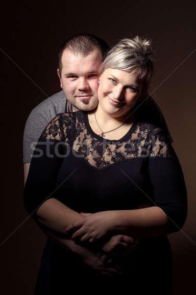 Piękna xxl kobieta mąż studio moda Zdjęcia stock © artush