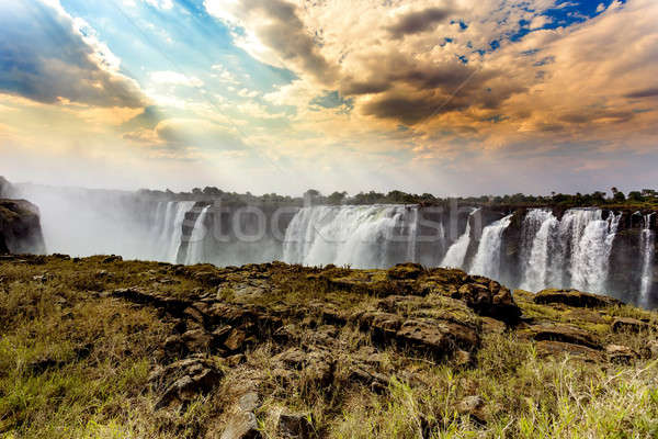 The Victoria falls with dramatic sky HDR effect Stock photo © artush