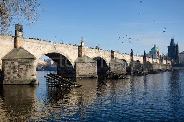 Beroemd brug tsjechisch republiek historisch kruisen Stockfoto © artush