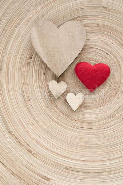 Valentin nap fából készült szívek retro valentin nap nap Stock fotó © artush