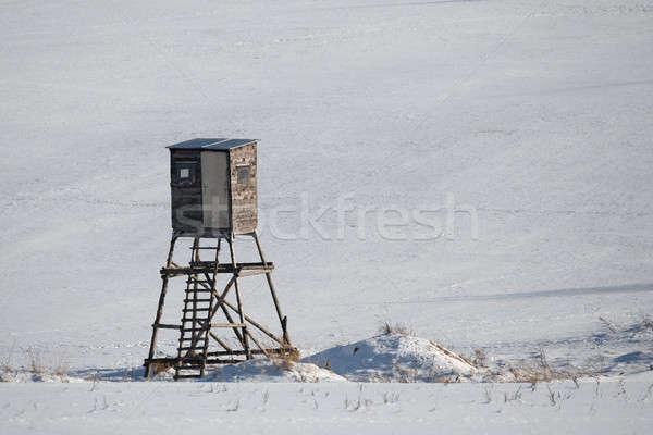 Tél fagyott tájkép vadászat torony díszlet Stock fotó © artush