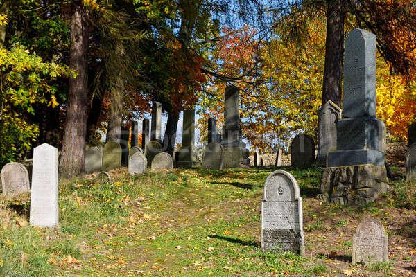 Oublié cimetière couleurs d'automne saison d'automne morts saleté Photo stock © artush