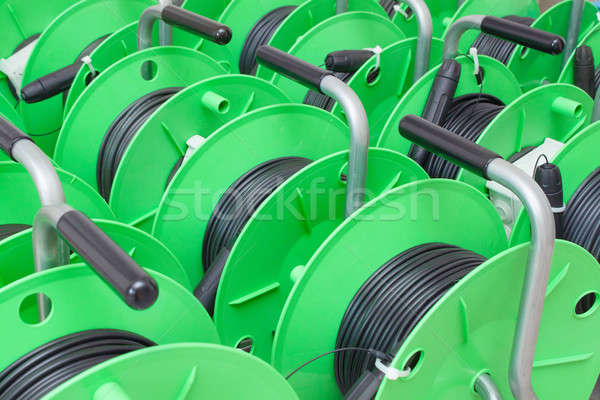 Group of cable reels for new fiber optic installation Stock photo © artush