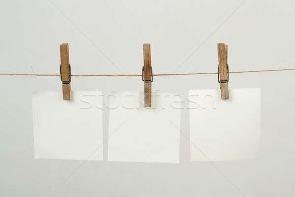 Emlék levélpapír akasztás kábel fehér levél Stock fotó © artush