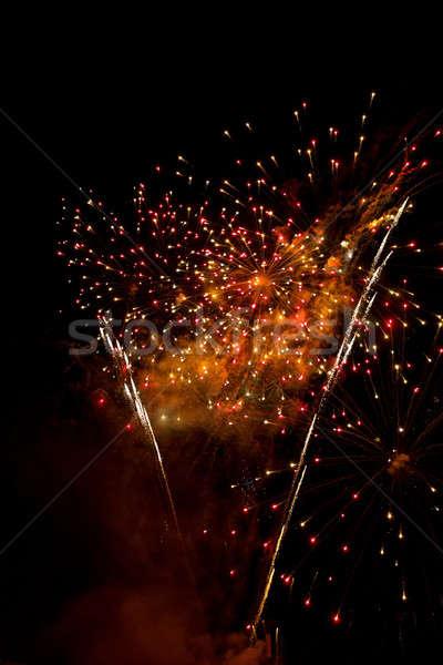 фейерверк ночное небо красивой аннотация огня Сток-фото © artush