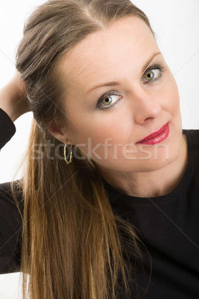 beautiful middle age woman cancer patient before shaving hair Stock photo © artush