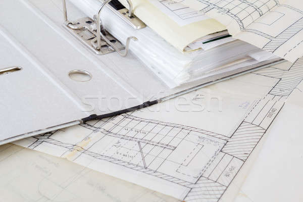 Architectural plans of the old paper and file with the project Stock photo © artush