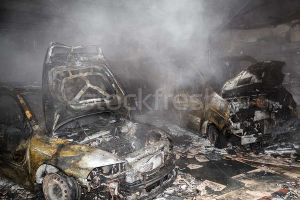 Close up photo of a burned out cars Stock photo © artush