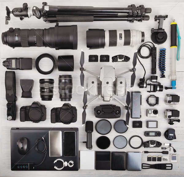 top view of complete photographer professional equipment Stock photo © artush