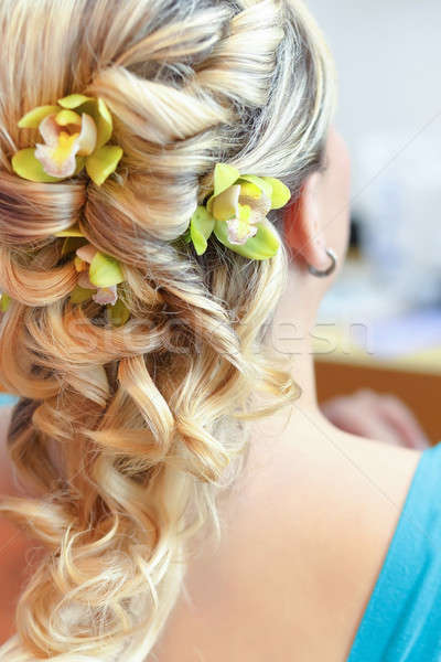Beautiful wedding hairstyle - rear view Stock photo © artush