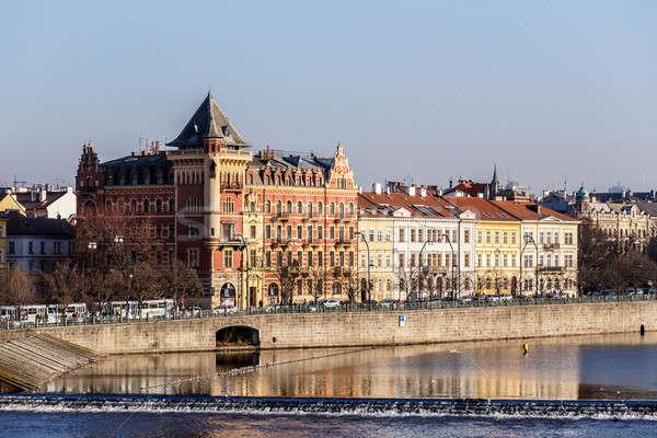 View to the Prague Old Town (Smetanovo Nabrezi) Stock photo © artush