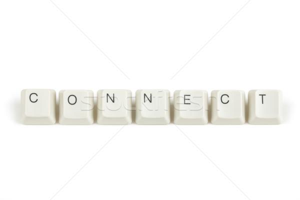 Contactar teclado claves blanco texto aislado Foto stock © artush