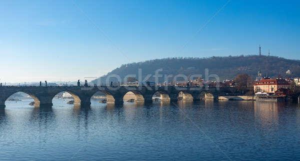 Célèbre pont Prague République tchèque historique croix Photo stock © artush