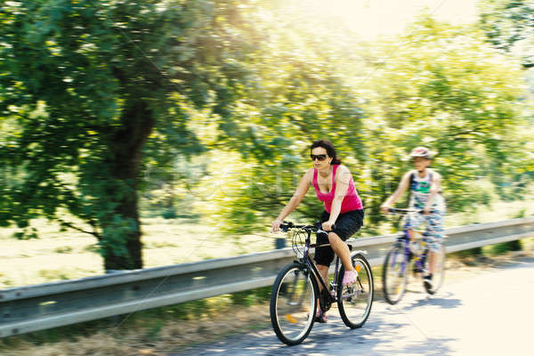 Mother with sons on bicycle trip Stock photo © artush