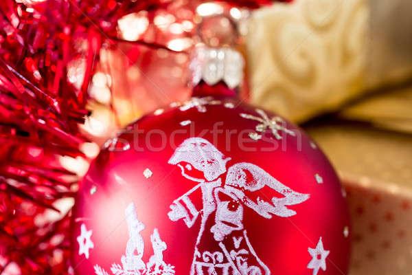 Christmas dekoracji złoty polu wstążka czerwony Zdjęcia stock © artush