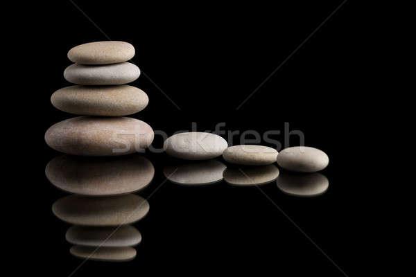 balancing zen stones on black Stock photo © artush