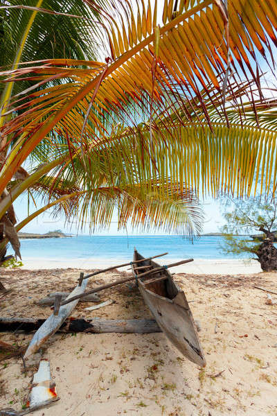 abandoned boat in sandy beach in madagascar Stock photo © artush