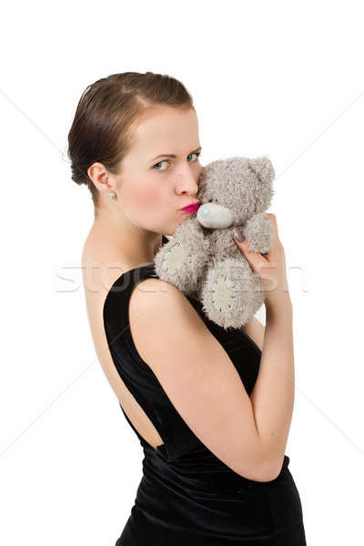attractive smiling brunette holding teddy bear Stock photo © artush