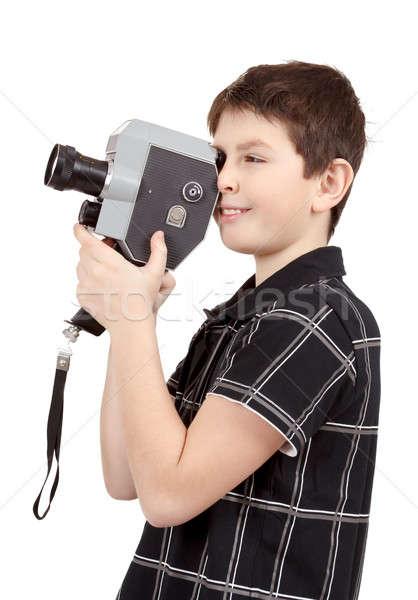 Młody chłopak starych vintage analog 8mm kamery Zdjęcia stock © artush