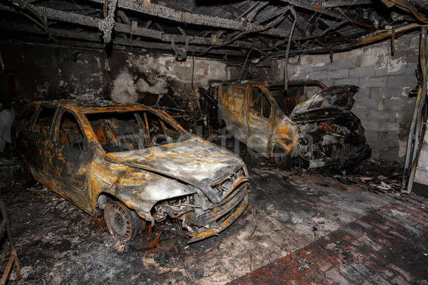 Stock photo: Close up photo of a burned out cars