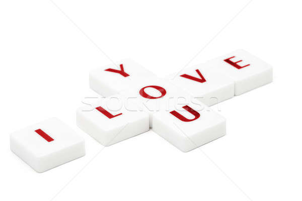 Scrabble letters spelling I love you isolated on white Stock photo © artush