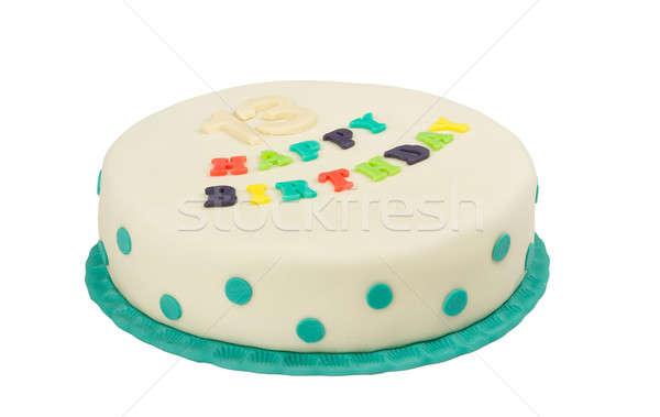 именинный торт текста С Днем Рождения тринадцать летию изолированный Сток-фото © artush