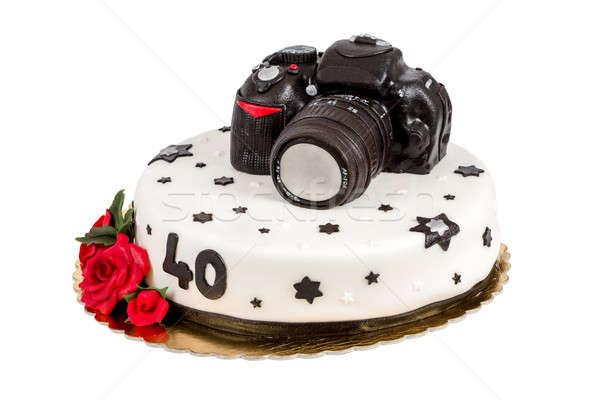 Születésnapi torta negyven évforduló modern dslr fotó Stock fotó © artush