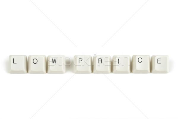 Laag prijs toetsenbord sleutels witte tekst Stockfoto © artush