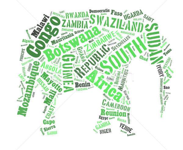 Africaine mots nuage éléphant forme croquis Photo stock © artush