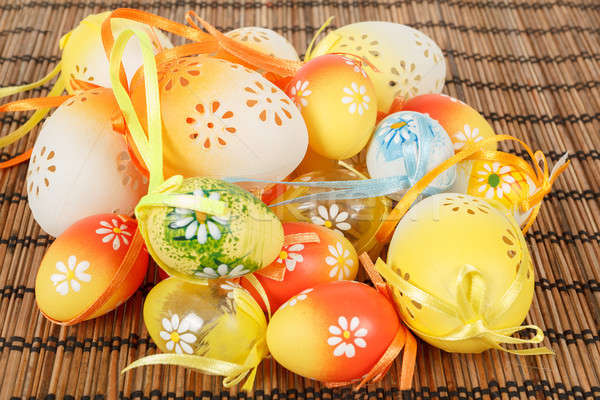 Bright color easter eggs with bows Stock photo © artush
