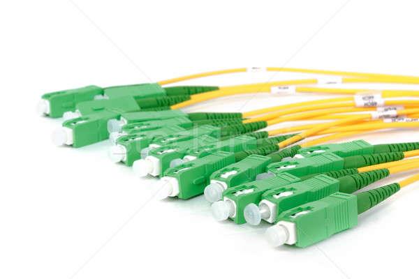 Verde fibra óptico ordenador servidor contacto Foto stock © artush