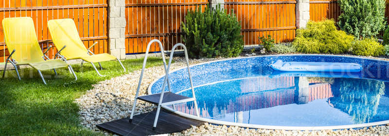panorama of small home swimming pool Stock photo © artush