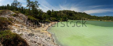 wide panorama of sulphurous lake - danau linow indonesia Stock photo © artush