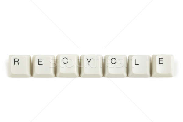 recycle from scattered keyboard keys on white Stock photo © artush