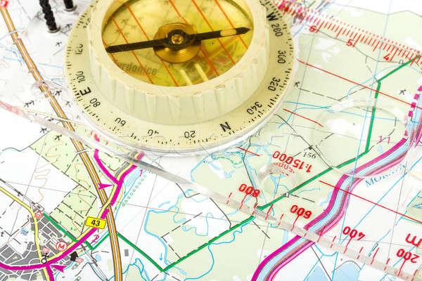 old touristic compass on map Stock photo © artush