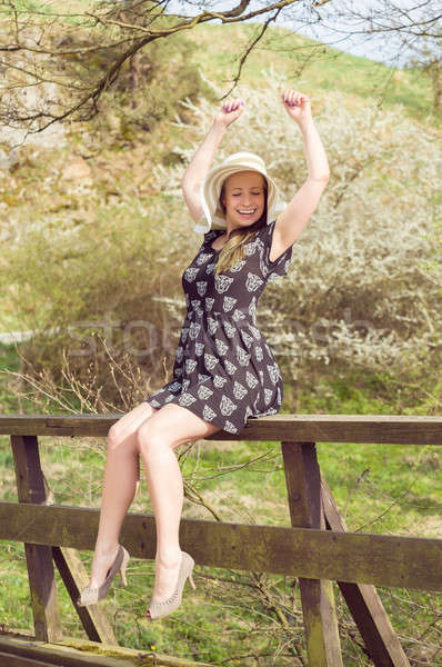 Cheerful fashionable woman in stylish hat and frock posing Stock photo © artush