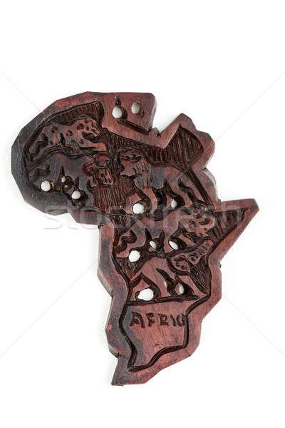 Legno mappa continente africa animali silhouette Foto d'archivio © artush