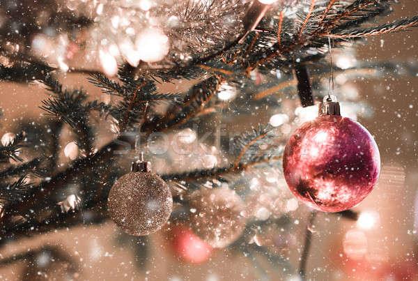 Christmas dekoracji drzewo świetle szczegół opadów śniegu Zdjęcia stock © artush